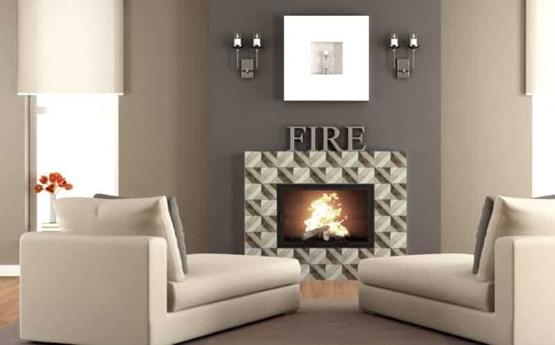 Contemporary Living Room Fireplace Rendering