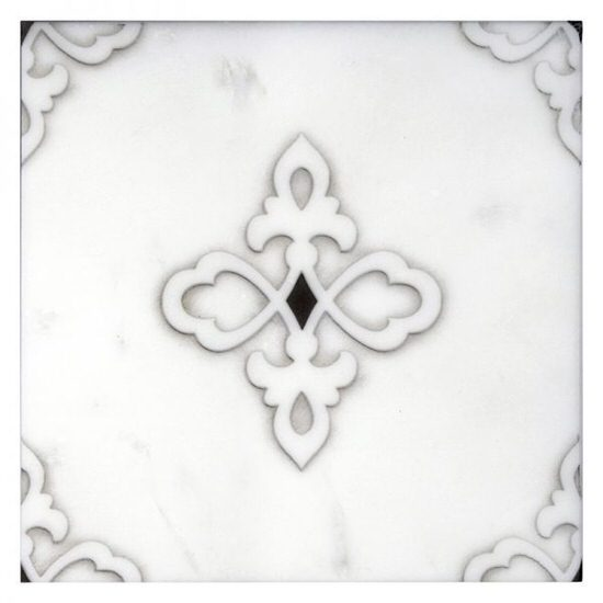 Gemma Pattern Tile design on white Carrara marble