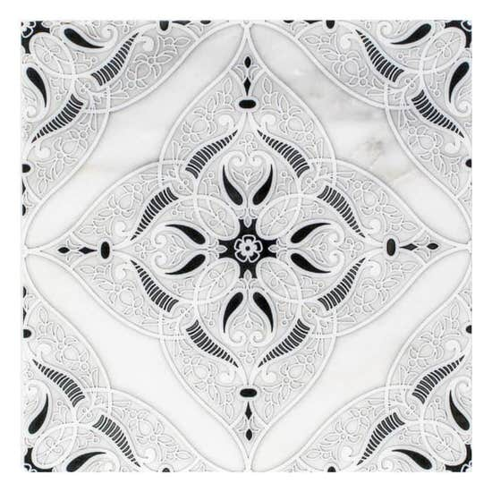Intricate coastal Granada Pattern Tile black and white