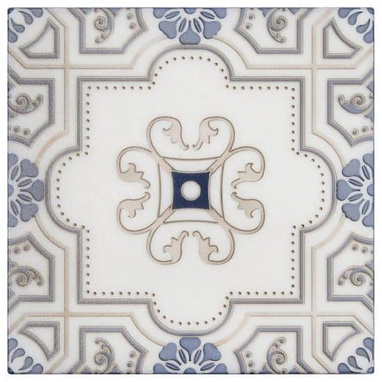 Harlan Pattern Tile of decorative white stone