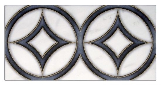 Circular Hayden Pattern Tile deep blue on white marble