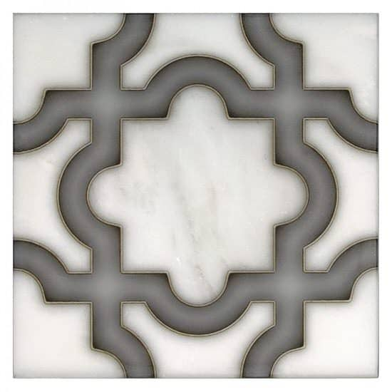Karia Pattern Tile grey on white Carrara marble