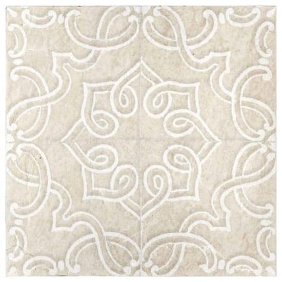 Lennox Pattern Tile white and beige on limestone
