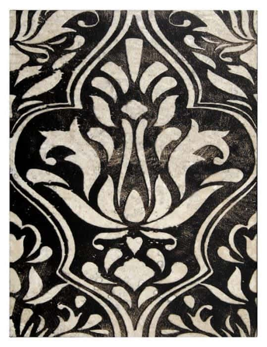 damask Lillian Pattern tile black on Honed Durango stone