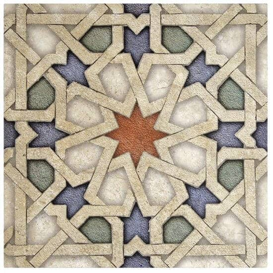 Vibrant Eastern Star Tile Moroccan pattern with red, blue and green