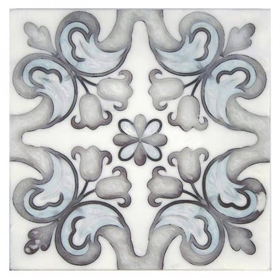 Marbella Pattern Tile blue and grey on Carrara Marble