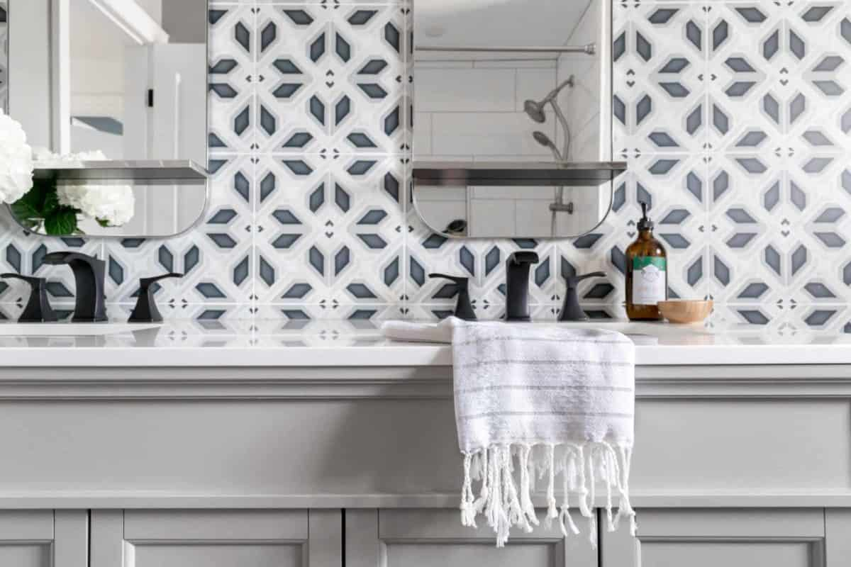 Avery Grand (Charcoal) on Carrara Bathroom Install Sink Closeup