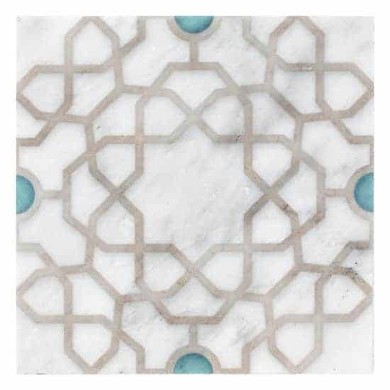 Latice Medina Pattern Tile gold and turquoise on white marble