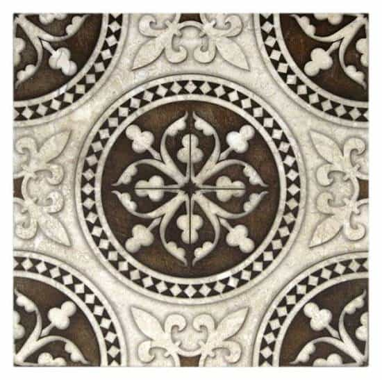 traditional Monarch Pattern Tile dark brown on stone