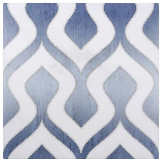 contemporary Morocco Pattern Tile blue on white Carrara marble