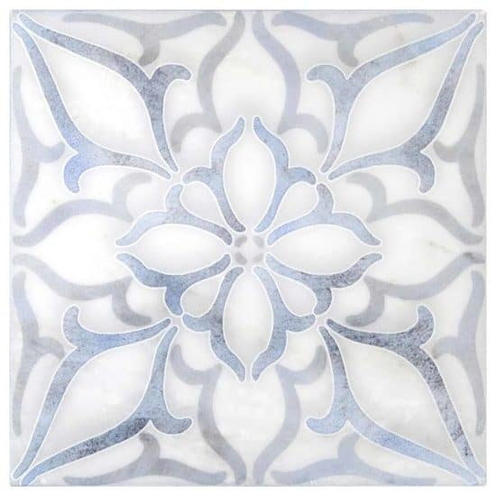 Petals Pattern Tile blue on Arctic White Marble