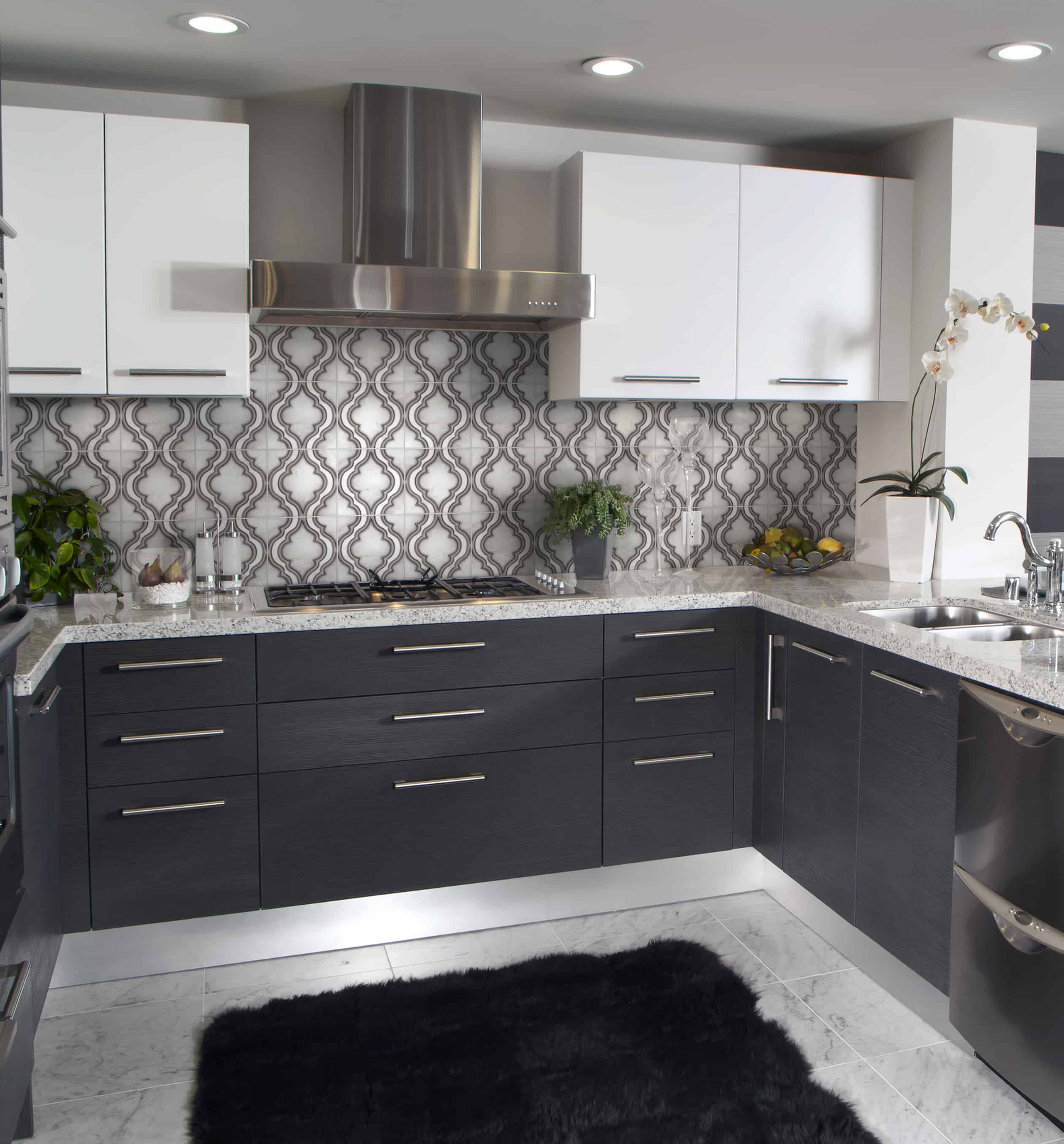 Pirouette (Silver) on Carrara Kitchen Install Silver Kitchen