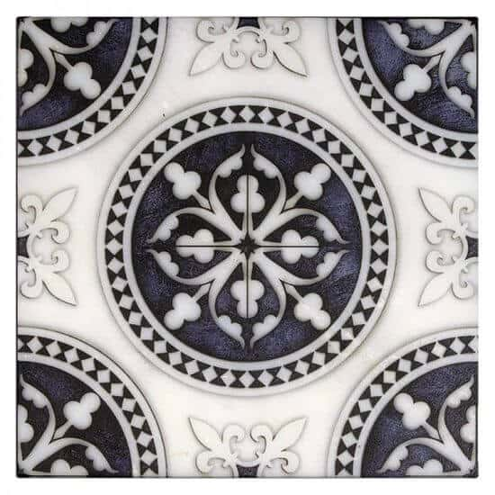 french inspired Regent Pattern Tile navy blue on white marble