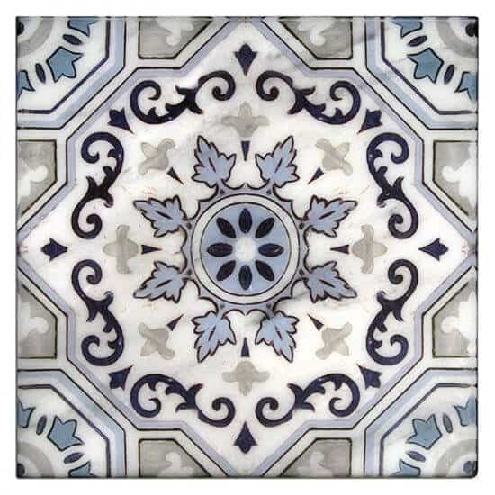 Sanza Pattern Tile Design blue on white carrara marble