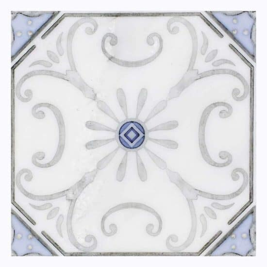 delicate solana pattern design grey and blue on Carrara Marble