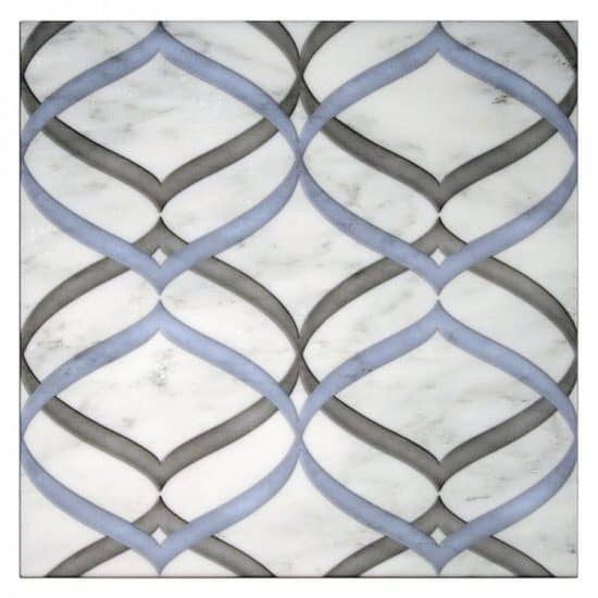 Sweep Pattern Tile Design blue and grey on white marble
