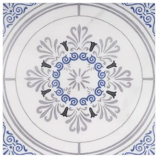 greek inspired vecina pattern tile design blue and grey on carrara