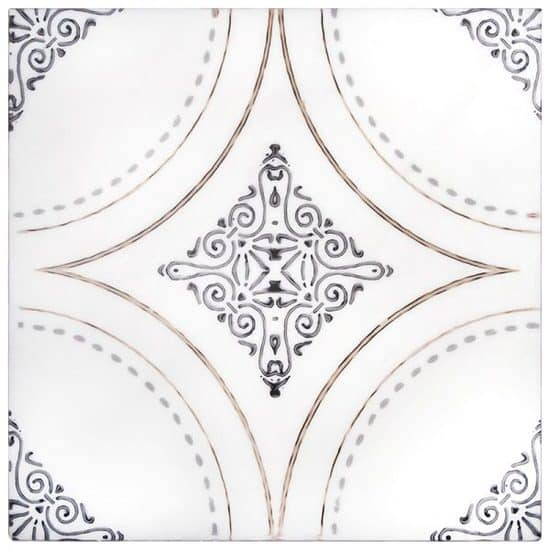 Boho Ventana Pattern Tile design on white marble