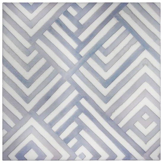 Waterways Pattern Tile Design blue on white marble