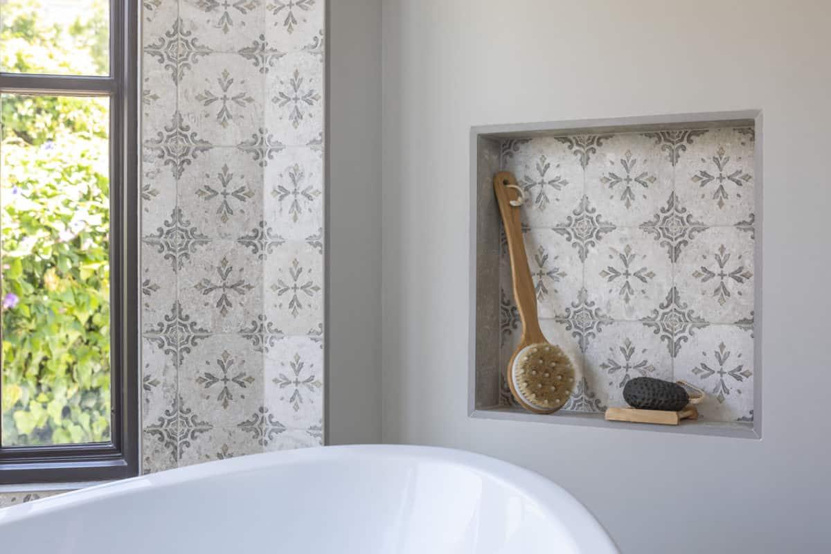 Crystal (topaz) on Perle Blanc Bathroom Install Shower Niche and Wall Border
