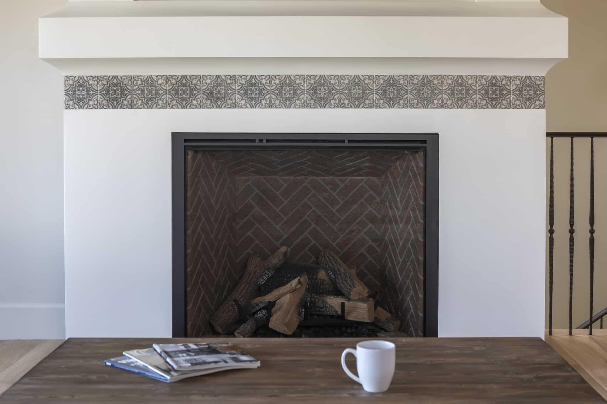Ella (Jute) on Perle Blanc Fireplace Install
