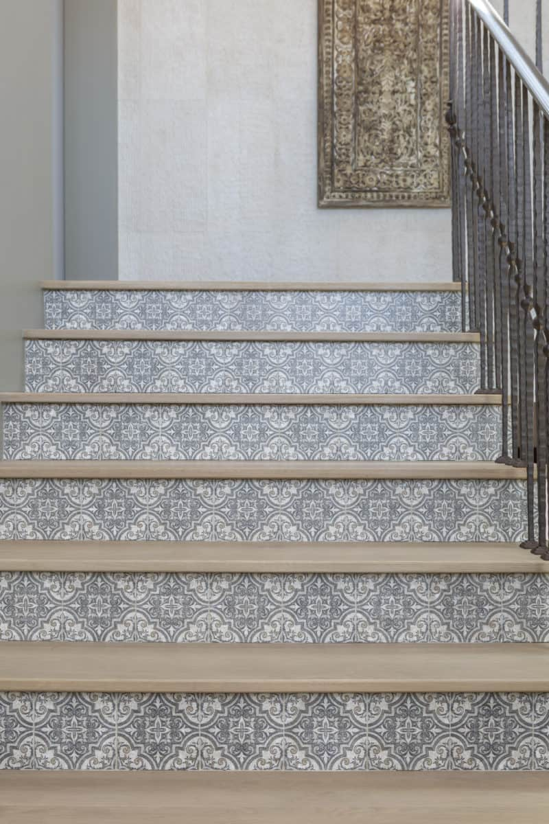 Ella pattern tile Stair Install