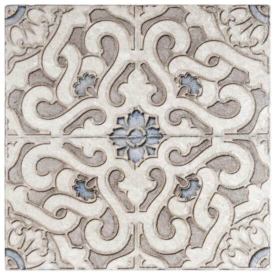 detailed Zara Pattern Tile design on Perle Blanc Limestone