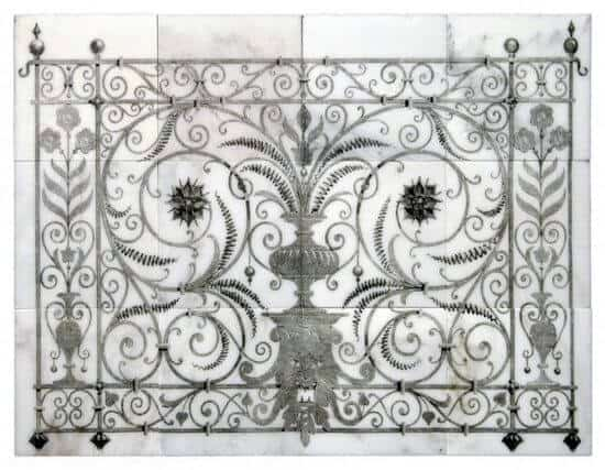 Peperigno Mural Product shot Black and Carrara Marble StoneImpressions