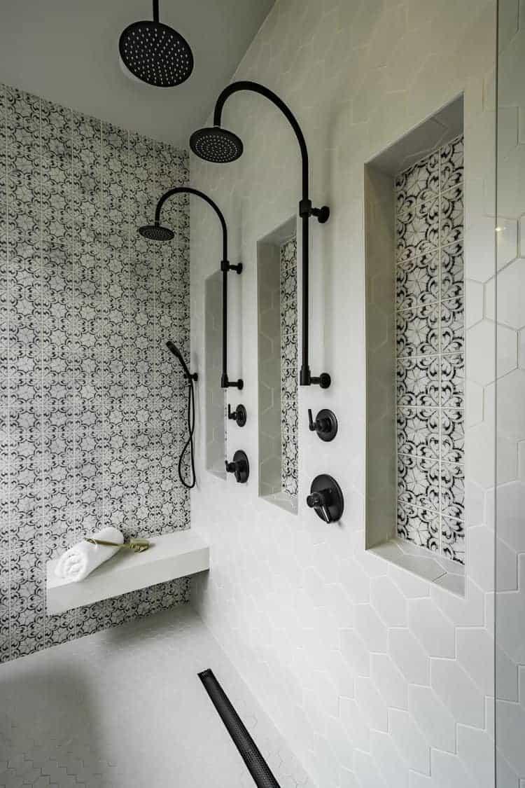 Oasis (Black) on Carrara Bathroom Install with Shower Niche