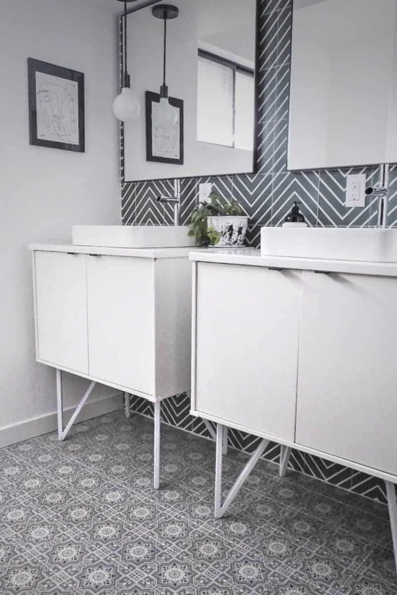 Cabrillo Pattern Lunar Gray on Bathroom Floor Ultra Modern