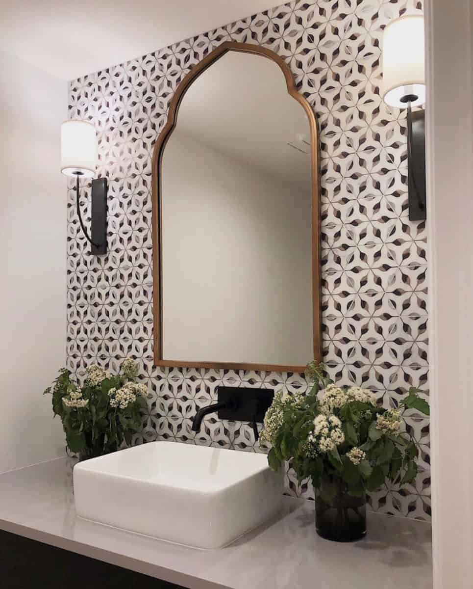 Alston Stilnovo (Night) on Carrara Hexagon Bathroom Install Powder Flowers