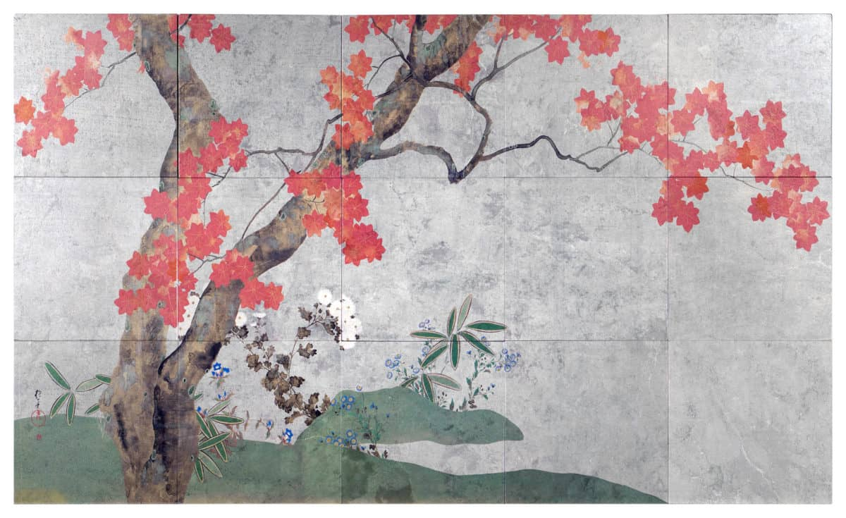 Autumn Tree Mural (Full) on Silver Luster Limestone