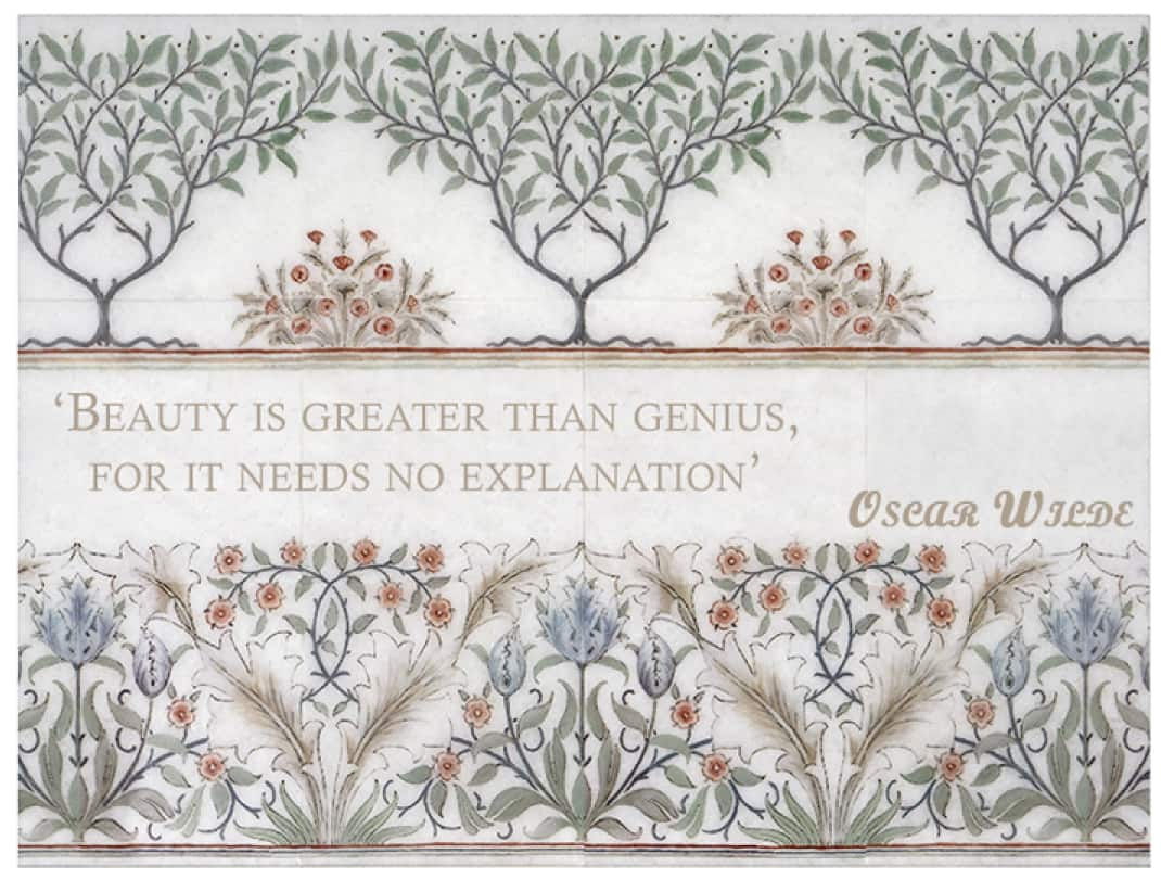 """Farmhouse floral tile mural with custom saying """"Beauty is greater..."""""""
