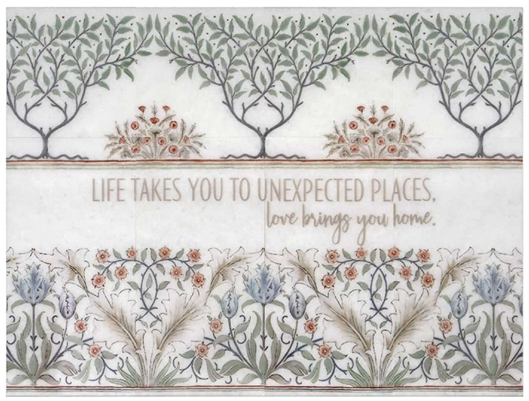 "Farmhouse floral tile mural with custom saying ""Life takes you..."""