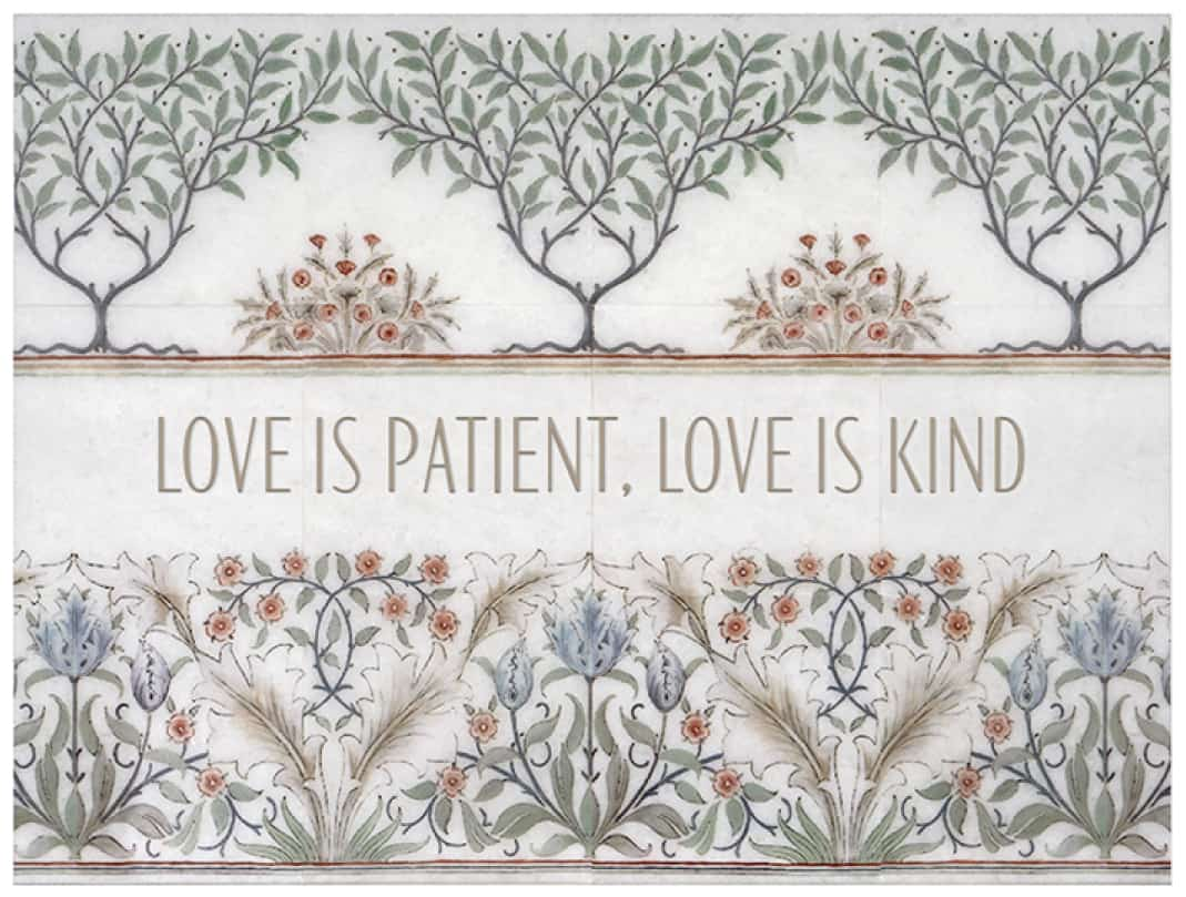 """Farmhouse floral tile mural with custom saying """"Love is patient..."""""""