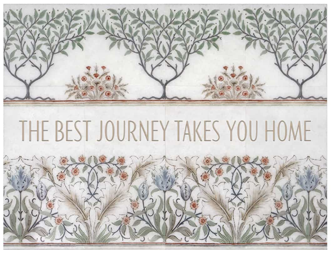 """Farmhouse floral tile mural with custom saying """"the best journey..."""""""