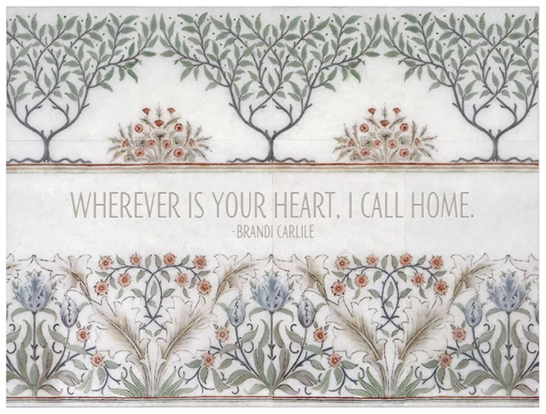 """Farmhouse floral tile mural with custom saying """"wherever is your heart"""""""