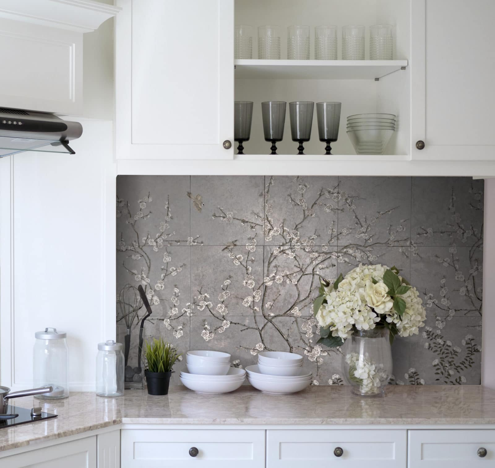 Cherry Blossom Mural Kitchen StoneImpressions