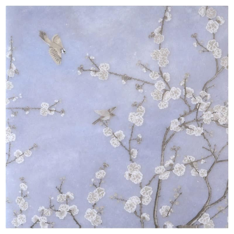Cherry Blossom Mural in Dawn on Arctic White Swatch
