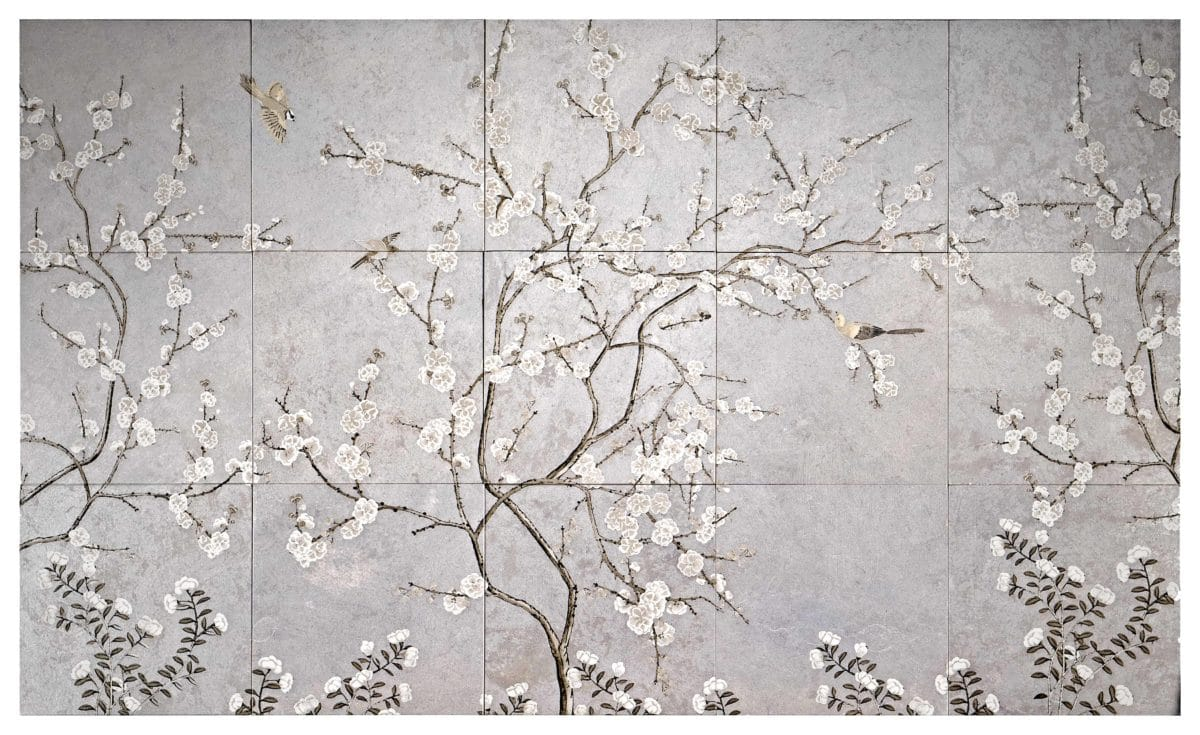 Cherry Blossoms Mural on a Silver Luster Limestone