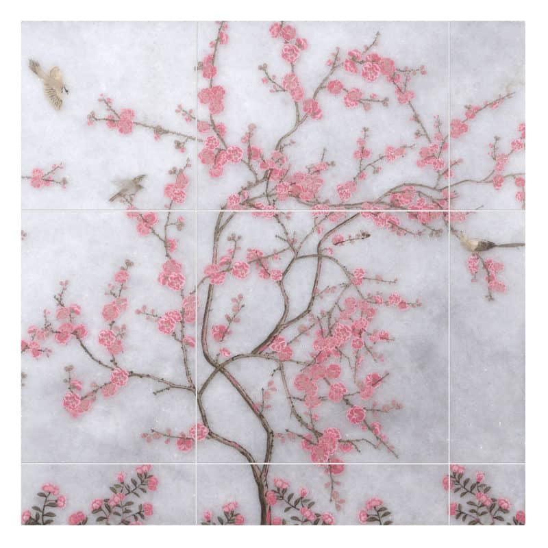 Cherry Blossom Mural in Pink on Arctic White