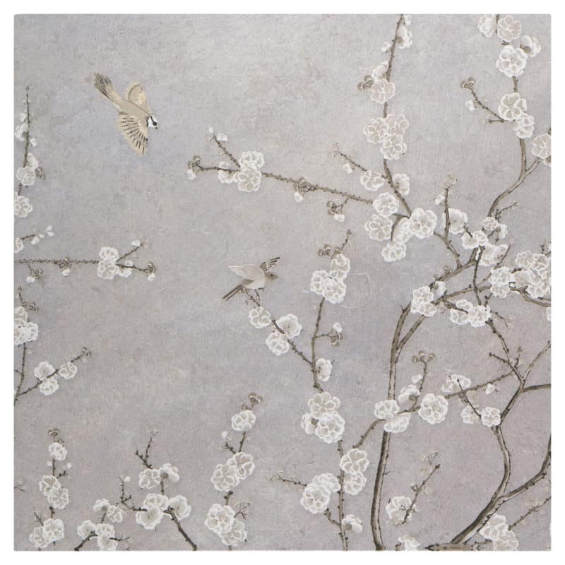 Cherry Blossom Mural on Silver Luster Limestone Swatch