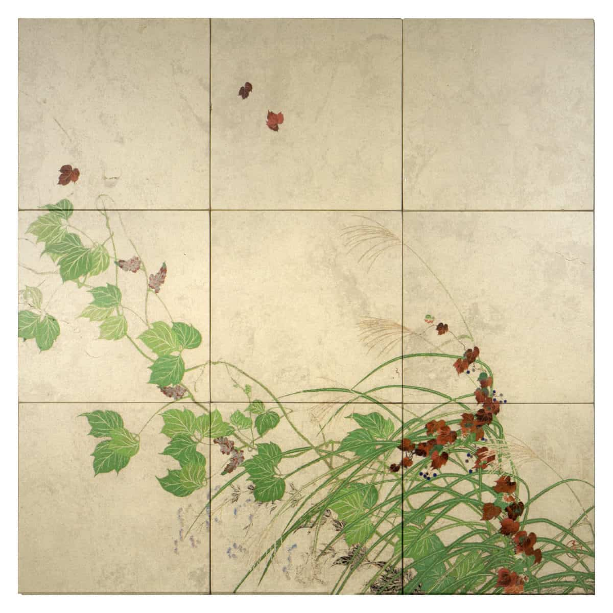 Fall Ivy Mural shown on Gold Luster Limestone Product Shot