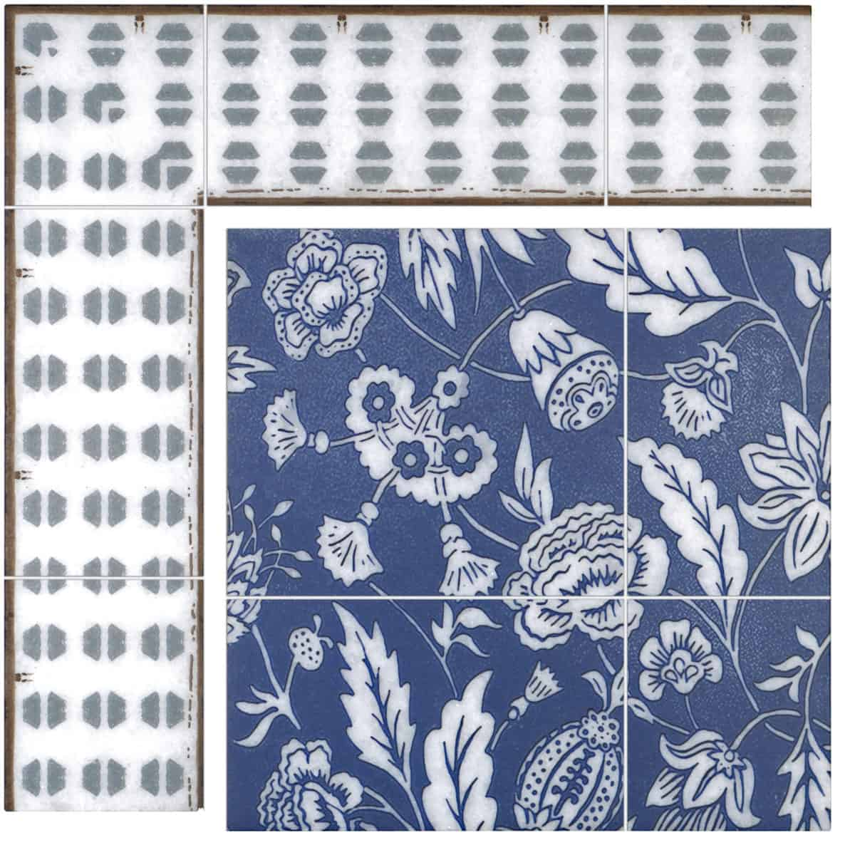 Farmhouse Mural in Navy on Arctic White color swatch