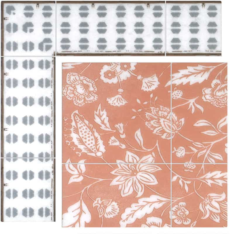Farmstead Mural in Coral on Arctic White color swatch