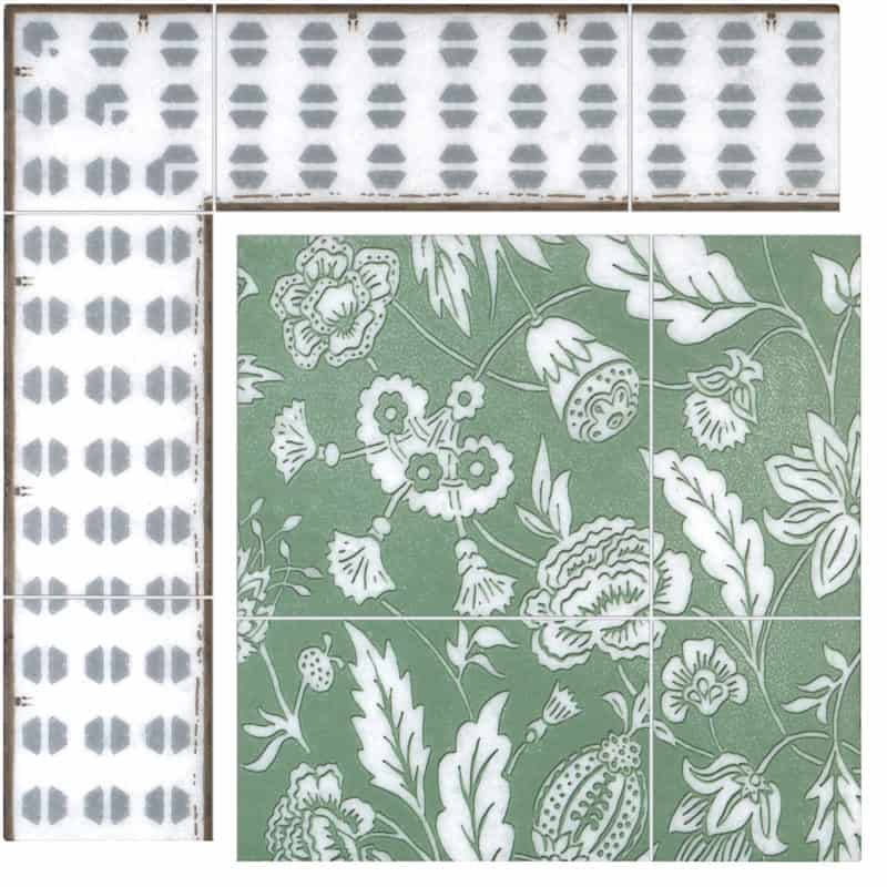 Farmhouse Mural in Kelly Green on Arctic White color swatch