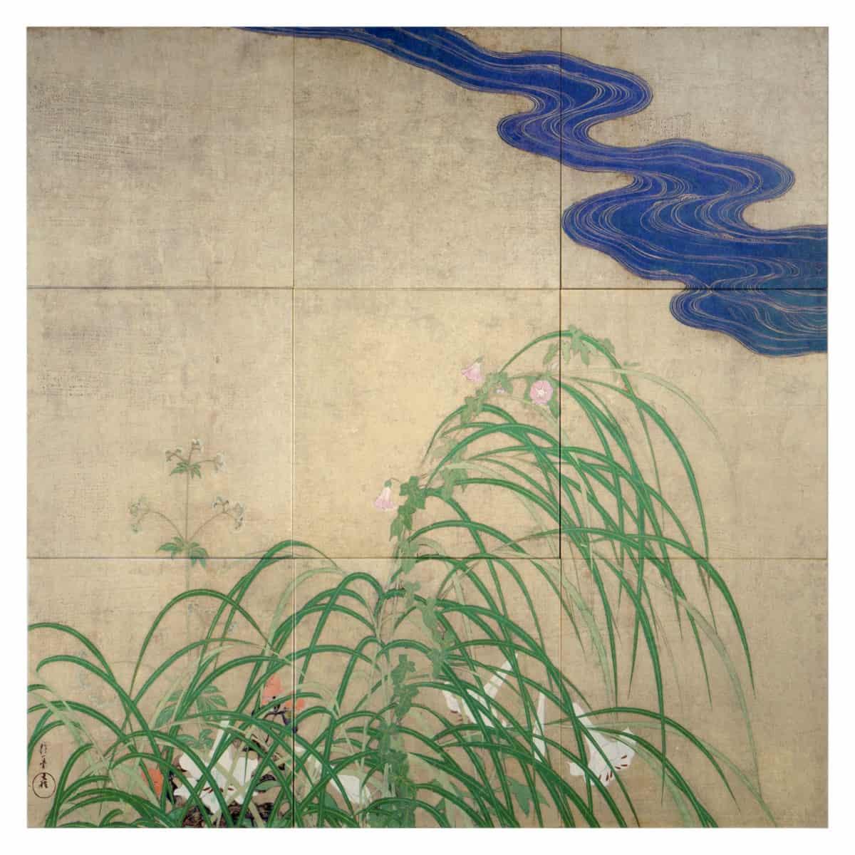 River's Edge Mural (Full) on Gold Luster Limestone 6x6