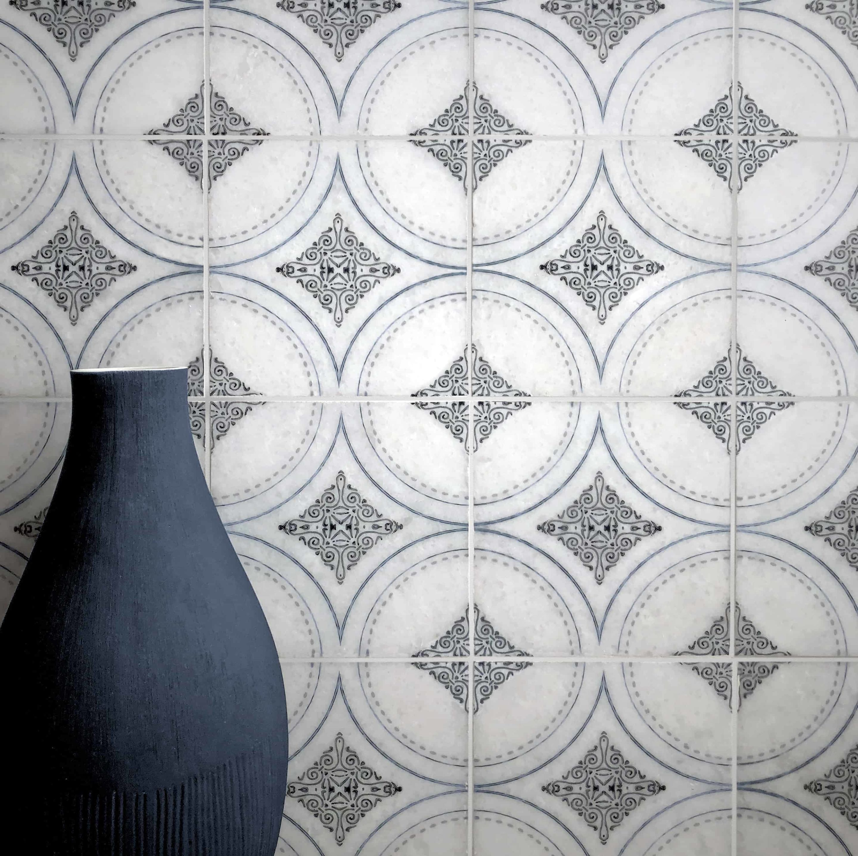Ventana Pattern Tile Accent wall shown on Arctic white marble