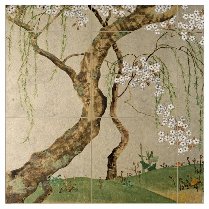 Weeping Willow Mural on Gold Luster Limestone