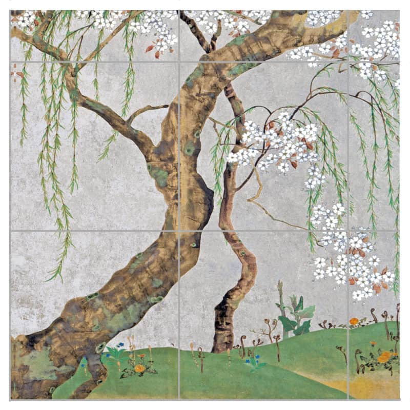 Weeping Willow mural on Silver Luster Limestone